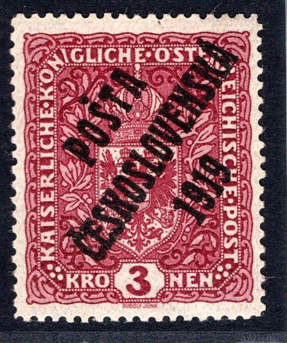 49 Ia ; 3 koruná úzká tmavě červená; Typ II přetisku - dvl, zkoušeno Mrňák, Gilbert + Atest Vrba - pěkný a  hledaný kus
