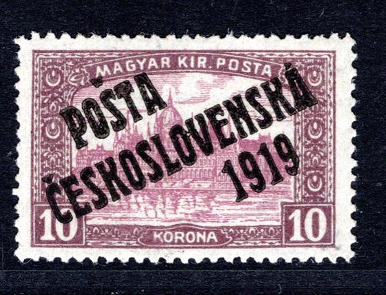 118,  PC 1919,   Parlament 10 K hnědá/fialová, svěží, hledaná známka, dobře centrovaná známka - nádherný exemplář ; Atest Vrba