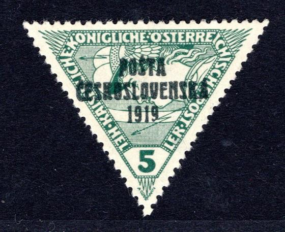 56  typ III,PČ 1919,  5 h zelená,  trojúhelník, zk. Möbs, atest Vrba, velmi hezká a svěží známka, krásný kus