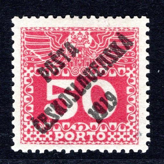 71 typ I, (Doplatní z roku 108/13),  PC 1919, velká čísla, 50 h červená, zk.Möbs,atest Vrba, hledaná dobře centrovaná svěží známka